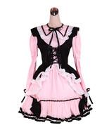 ZeroMart Pink and Black Cotton Ruffles Retro Gothic Victorian Lolita Dress - $69.99