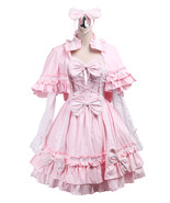 ZeroMart Pink Cotton Bows Ruffles Cape Sweet Vintage Victorian Lolita Dress - $69.99