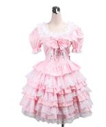 ZeroMart Pink Cotton Lace Ruffles Bow Sweet Vintage Victorian Lolita Dress - $69.99