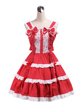 ZeroMart Red Cotton Bows Ruffles Halter Retro Victorian Sweet Lolita Dress - $69.99