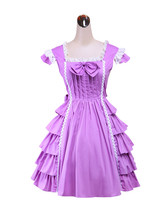 ZeroMart Purple Cotton Bow Ruffles Sweet Vintage Victorian School Lolita... - $69.99