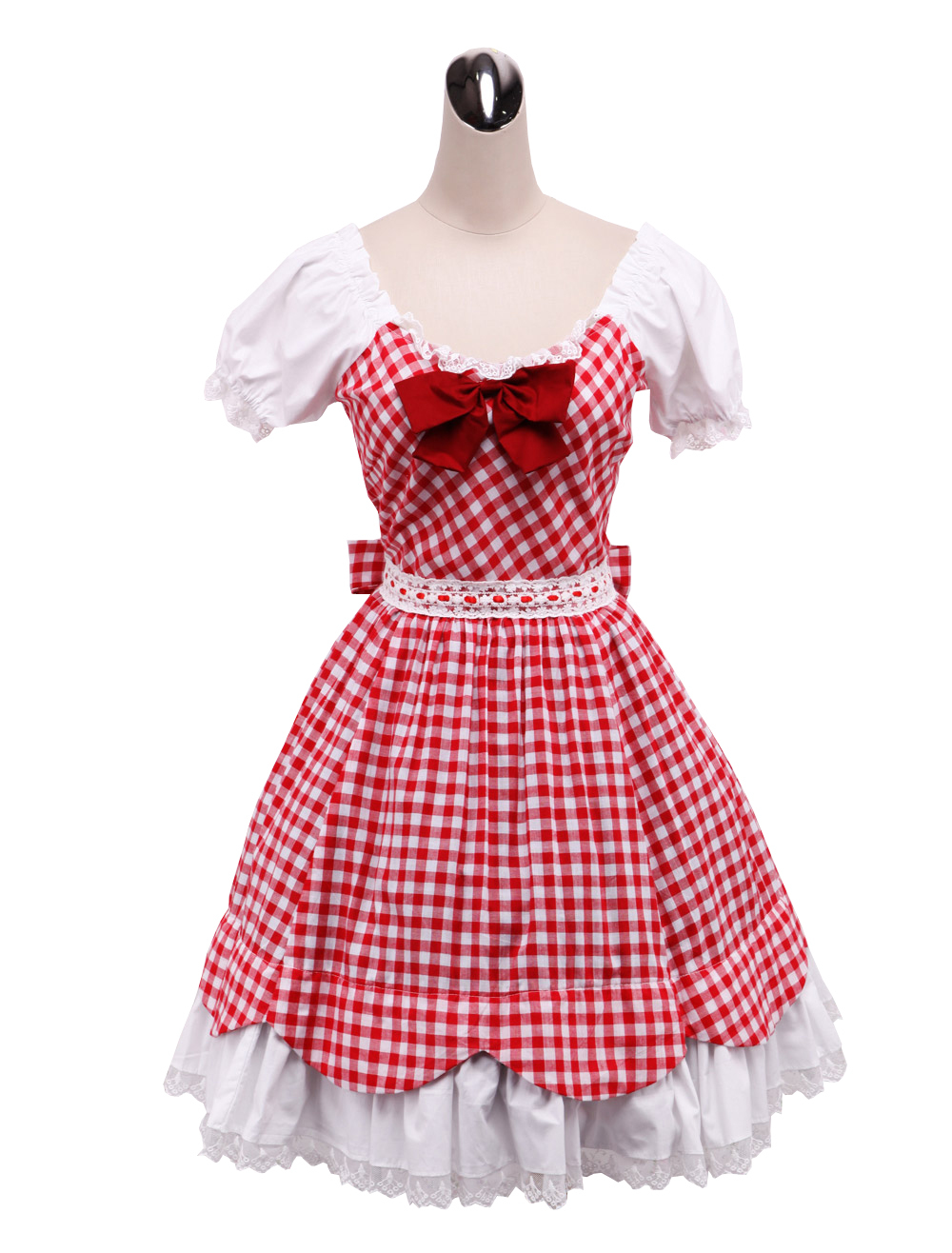 Primary image for ZeroMart Red Cotton Shepherd Check Bow Ruffle Retro Victorian Lolita Dress