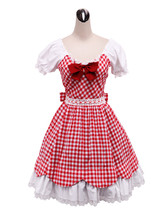 ZeroMart Red Cotton Shepherd Check Bow Ruffle Retro Victorian Lolita Dress - $69.99