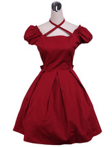 ZeroMart Red Cotton Back Bow Retro Gothic Classic School Lolita Dress - $69.99