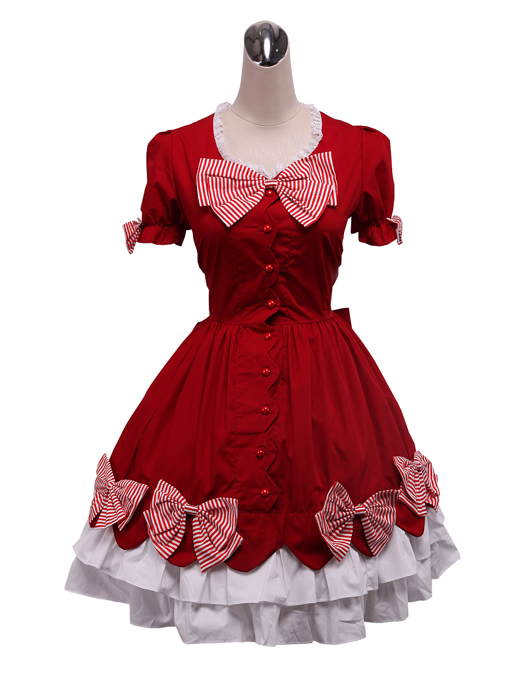 Primary image for ZeroMart Red Cotton Bow Buttons Ruffles Vintage Gothic Victorian Lolita Dress