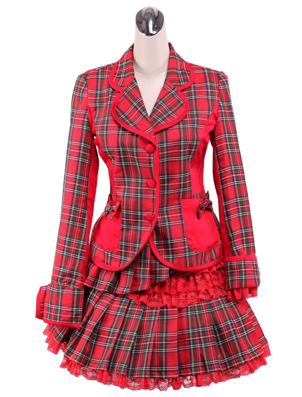 Primary image for ZeroMart Red Gingham Bow Ruffles Sweet School Lolita Top and Skirt