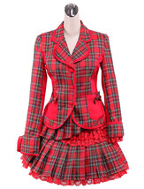 ZeroMart Red Gingham Bow Ruffles Sweet School Lolita Top and Skirt  - $69.99