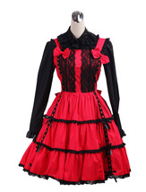 ZeroMart Red and Black Bow Lace Ruffles Classic Gothic Lolita Dress - $69.99