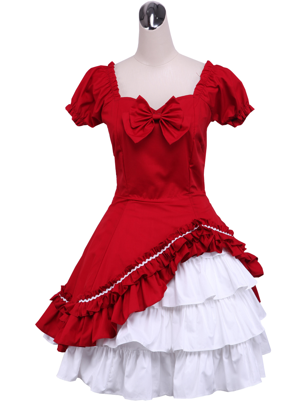 Primary image for ZeroMart Red and White Cotton Bow Ruffle Two Layer Victorian Classic Lolita Dres