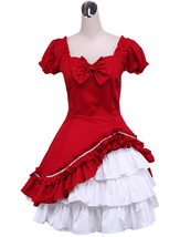 ZeroMart Red and White Cotton Bow Ruffle Two Layer Victorian Classic Lol... - $69.99