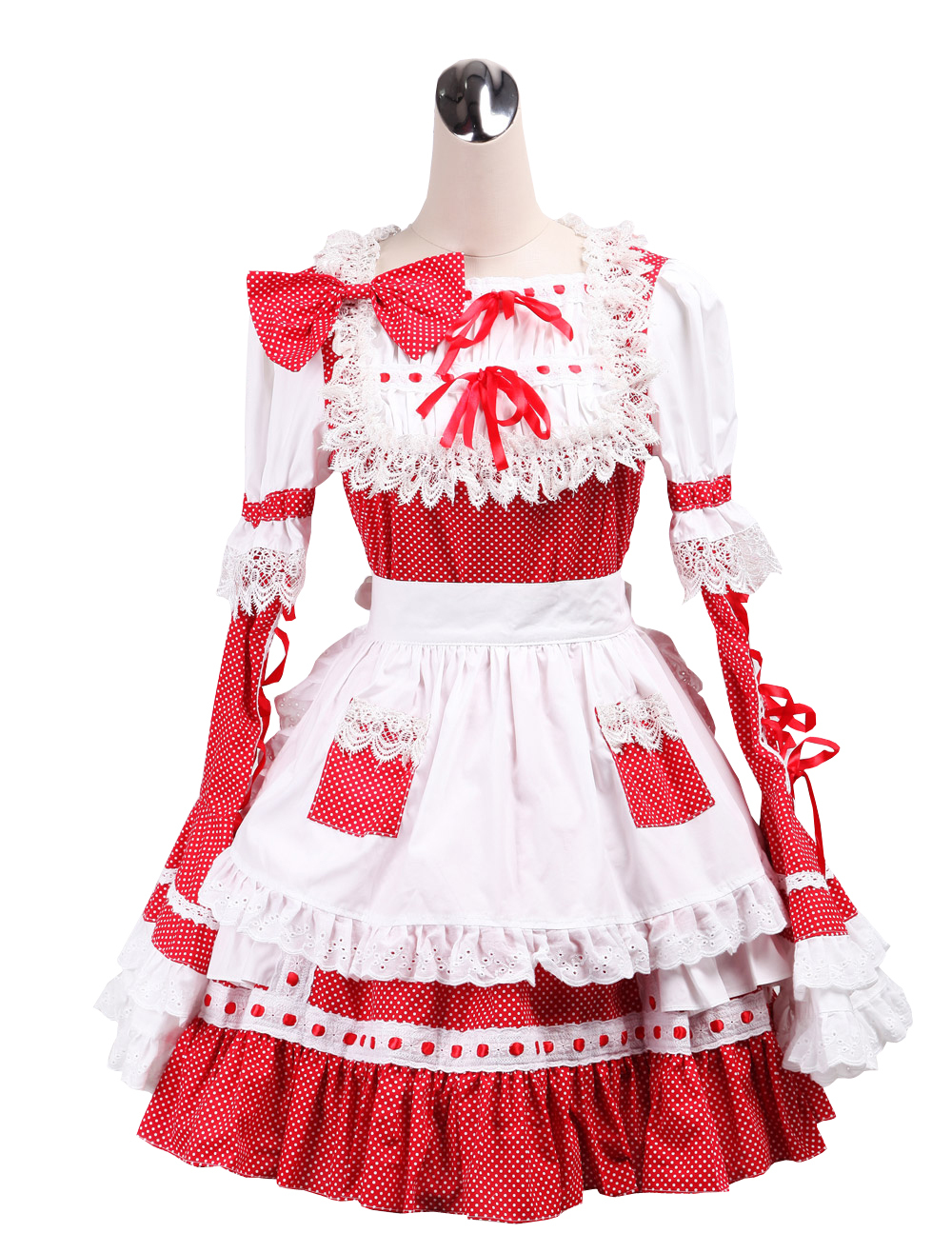 Primary image for ZeroMart Red and White Cotton Bow Ruffles Maid Cosplay Victorian Lolita Dress