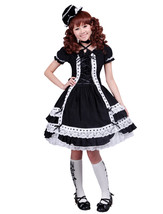 ZeroMart Black Cotton White Lace Ruffles Retro Gothic Classic Lolita Dress - $69.99