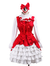 ZeroMart Red Cotton Ruffles Bow Sweet Vintage Victorian Classic Lolita D... - $69.99