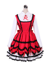 ZeroMart Red Cotton Black Lace Ruffles Vintage Gothic Classic Lolita Dress - $69.99