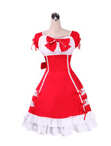 ZeroMart Red Cotton Bow Ruffles Lace Retro Victorian Sweet Lolita Dress - $69.99