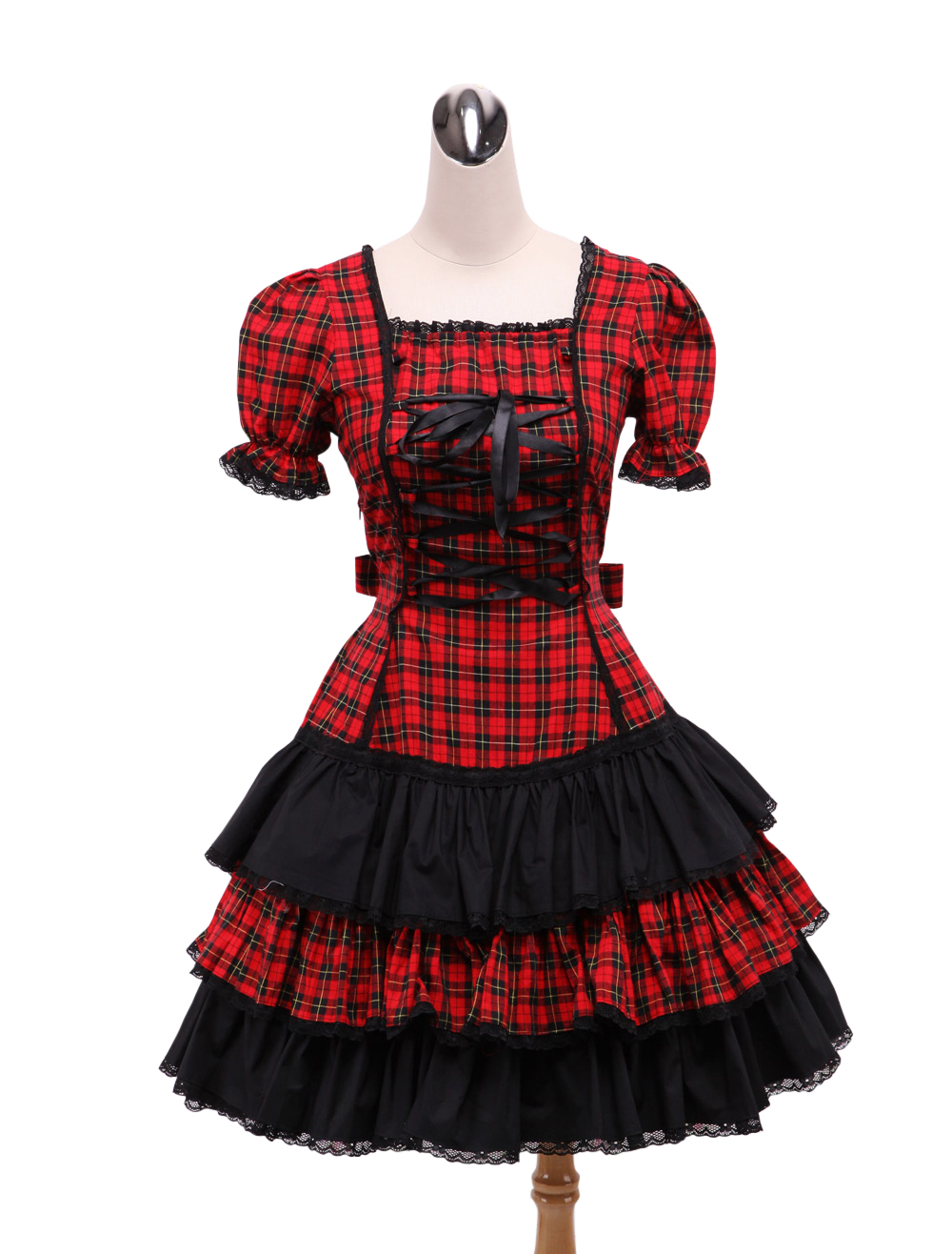 Primary image for ZeroMart Red and Black Plaid Ruffles Vintage Gothic Sweet Lolita Dress