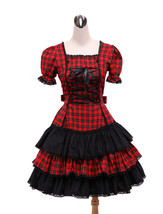 ZeroMart Red and Black Plaid Ruffles Vintage Gothic Sweet Lolita Dress - $69.99