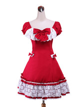 ZeroMart Red Cotton Bow Lace Ruffles Cute Sweet School Classic Lolita Dress - $69.99