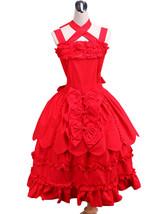 ZeroMart Red Cotton Bows Ruffles Vintage Gothic Victorian Sweet Lolita D... - $69.99