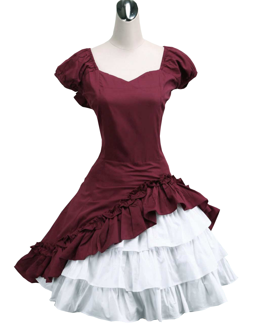 Primary image for ZeroMart Deep Red Cotton Bow Ruffles Vintage Victorian Classic Lolita Dress