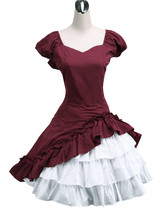 ZeroMart Deep Red Cotton Bow Ruffles Vintage Victorian Classic Lolita Dress - $69.99