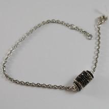 Roberto Giannotti 925 Silver Black Zirconia Bracelet Tube Angel Made In Italy - $164.35