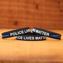 Fifty (50) Police Lives Matter Thin Blue Line Wristbands Law Enforcement Bands - $34.88