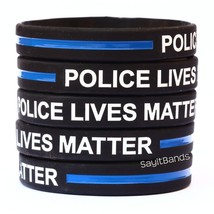 5 POLICE LIVES MATTER Thin Blue Line Wristband Police Bracelet Adult or ... - $6.88