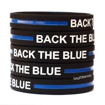 5 BACK THE BLUE Thin Blue Line Wristband Police Bracelet Adult or Child - $6.88