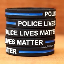 Ten (10) POLICE LIVES MATTER Thin Blue Line Wristbands - Show Police Sup... - $8.88