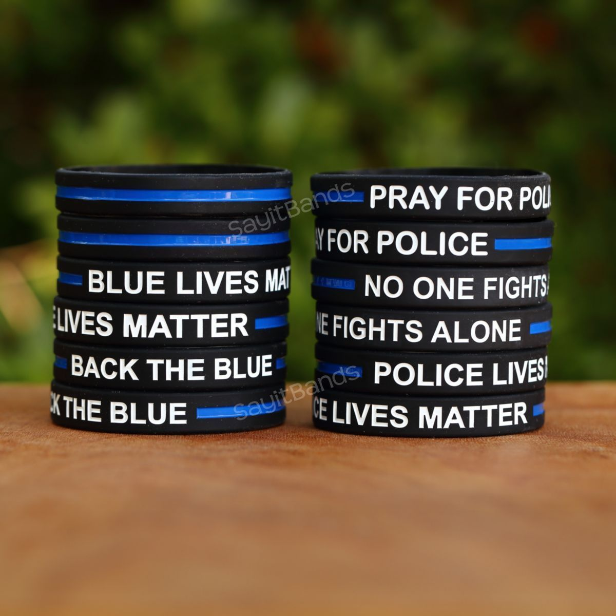 Primary image for Buy 1 Get 1 Free = 2 Total Police Thin Blue Line Wristbands You Pick Text & Size
