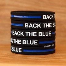 Fifty (50) BACK THE BLUE Thin Blue Line Wristbands Law Enforcement Bands - $34.88