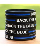 Ten (10) BACK THE BLUE Thin Blue Line Wristbands - Show Police Support - $8.88