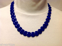 Nepalese Statement Necklace Lapis Blue Bone Chip Beads in 2 Sizes w Barrel Clasp
