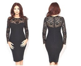 Women Sexy Black Floral Lace Long Sleeve Bodycon Party Slimming Short Dr... - $12.00