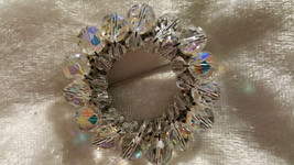 Vintage pin brooch wreath Austria crystal stones different aurora boreal... - $28.00
