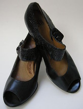 Sofft Shoes Black Mary Jane Peep Toe Heels Womens Size 9M - $54.41