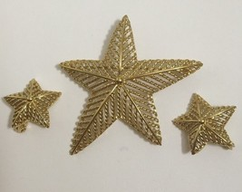 Vintage Monet Star Pin Clip Earring Set Gold Played  - $22.20