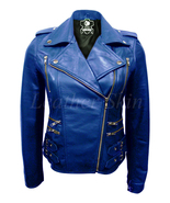 Leather Skin Women Blue Brando Biker Motorcycle Genuine Leather Jacket - $179.99