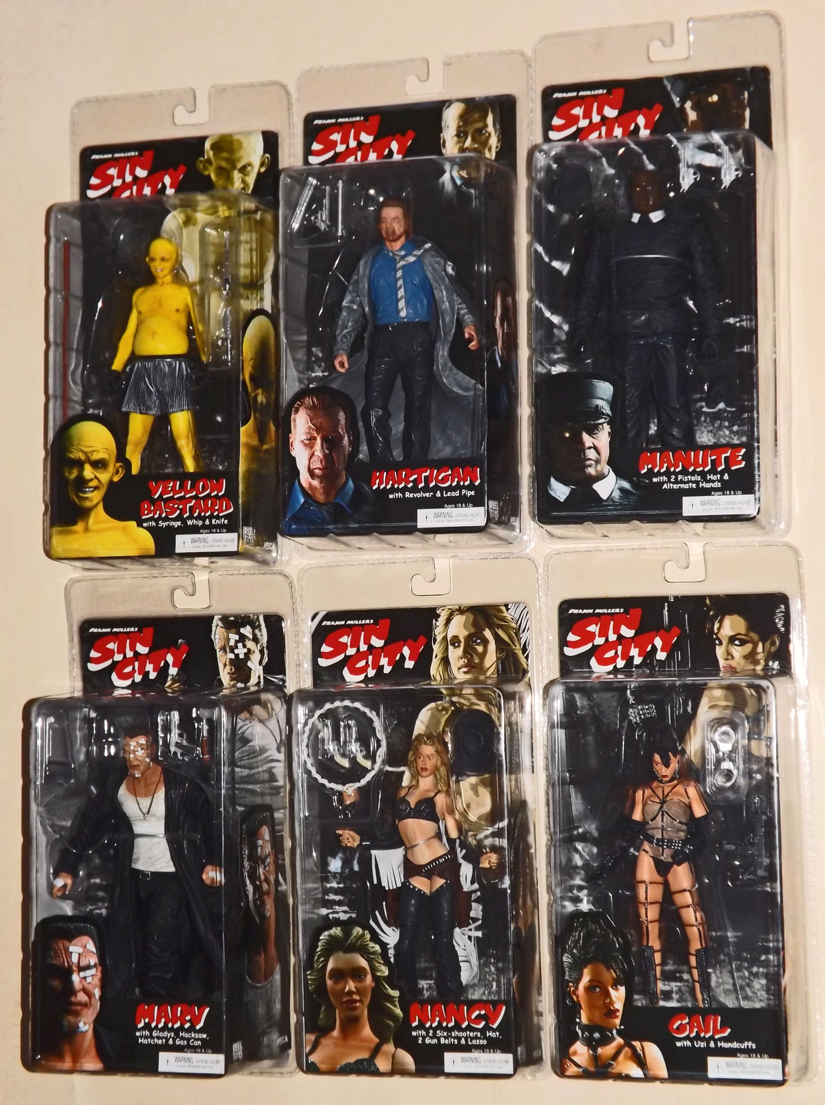 Primary image for 2005 NECA, Sin City Series 1, Color Variants, Complete Set of 6 Action Figures