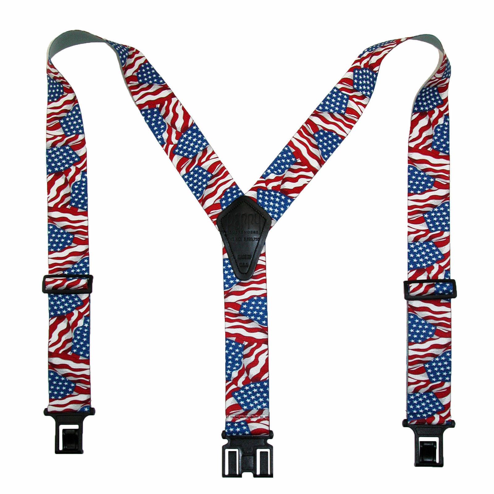 New Perry Suspenders Mens Elastic Hook End American Flag Suspenders (Reg & Tall)