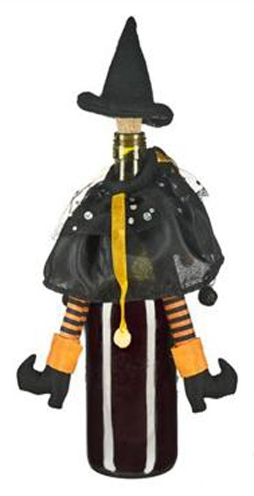 Black & Orange Wicked Witch Wine Bottle Topper [Brand New]