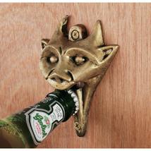 Gothic Beast Cast Iron Gargoyle Medieval Brass Finish Bar & Pub Bottle O... - $28.71