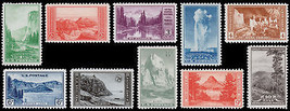 1934 1c-10c Commemorative National Parks, Set of 10 Scott 740-749 Mint F... - $19.50