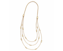 Auth New Tory Burch Gemini Link Multi-strand Necklace 16k Gold with Dust... - $215.82