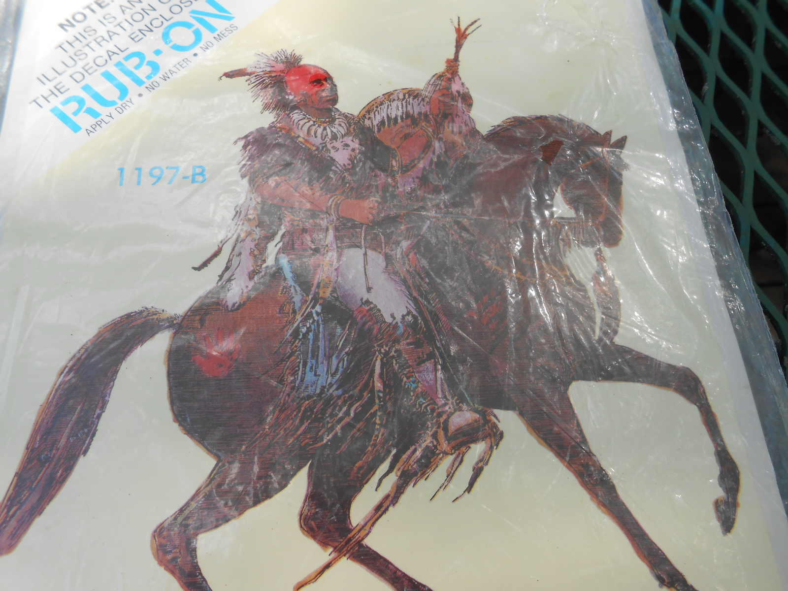 Vintage North American Indian & Horse Decal 1980