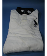 "Polo Ralph Lauren Rugby Knit Shirt #3 ""Patched"" Effect White/Blue Collar... - $29.99"