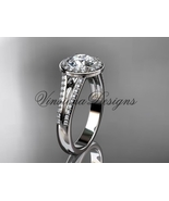 "Platinum diamond engagement ring, ""Forever One"" Moissanite VD10083 - $2,745.00"