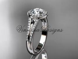"""Platinum diamond engagement ring, """"Forever One"""" Moissanite VD10083 - $2,745.00"""