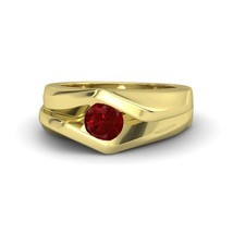 1.00 Ct Round Cut Ruby Double-Edged Ring 14k Yellow Gold Plated - $130.99